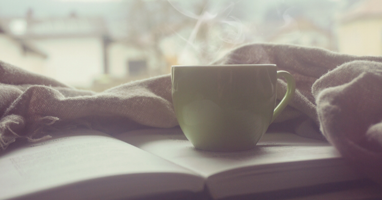 Calm morning coffee with book