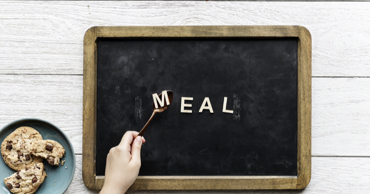 Family March meal plans - a photo of a blackboard with a fork spelling out the word meal