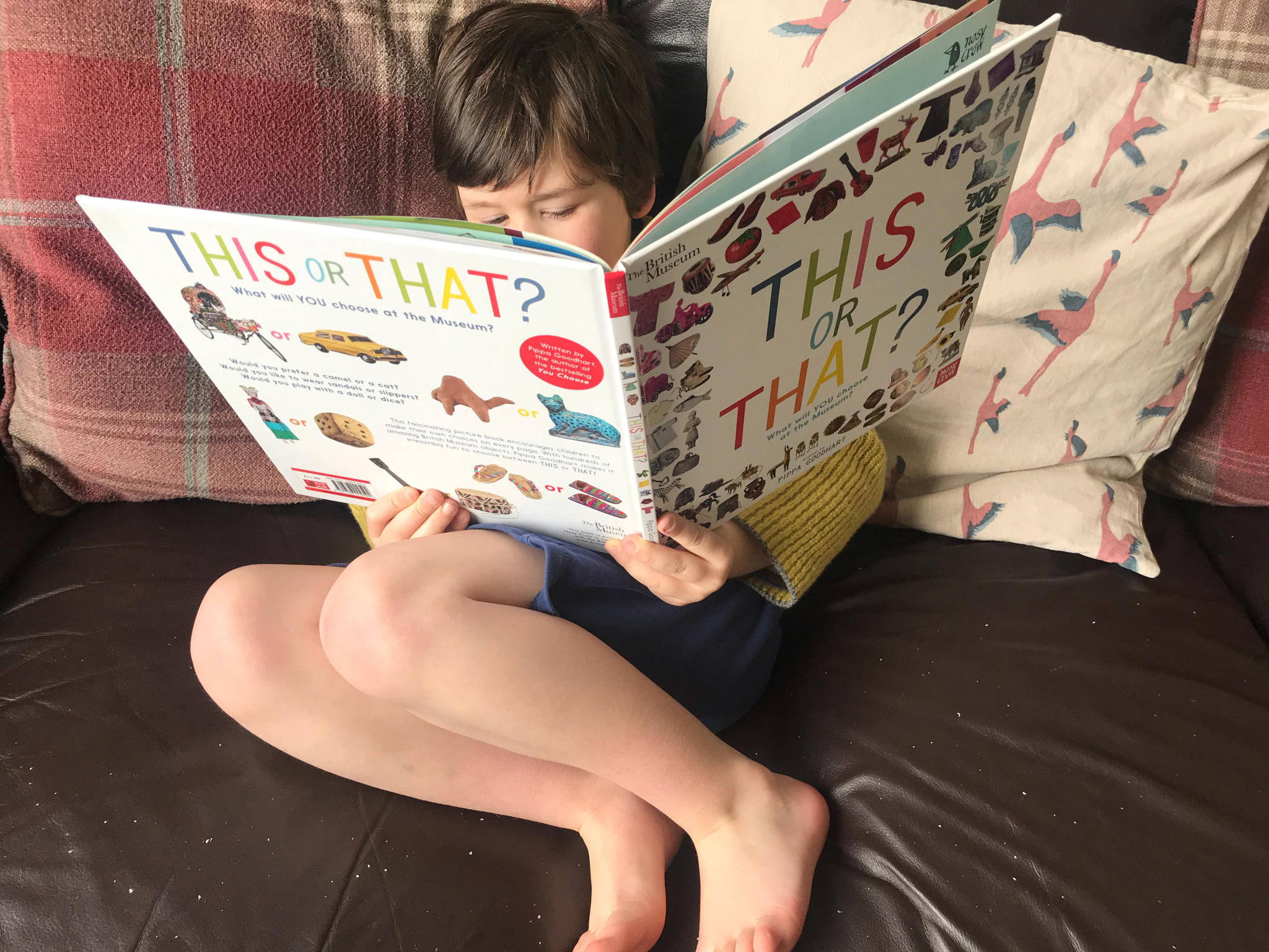 A boy sat reading book called 'This or That' on the sofa