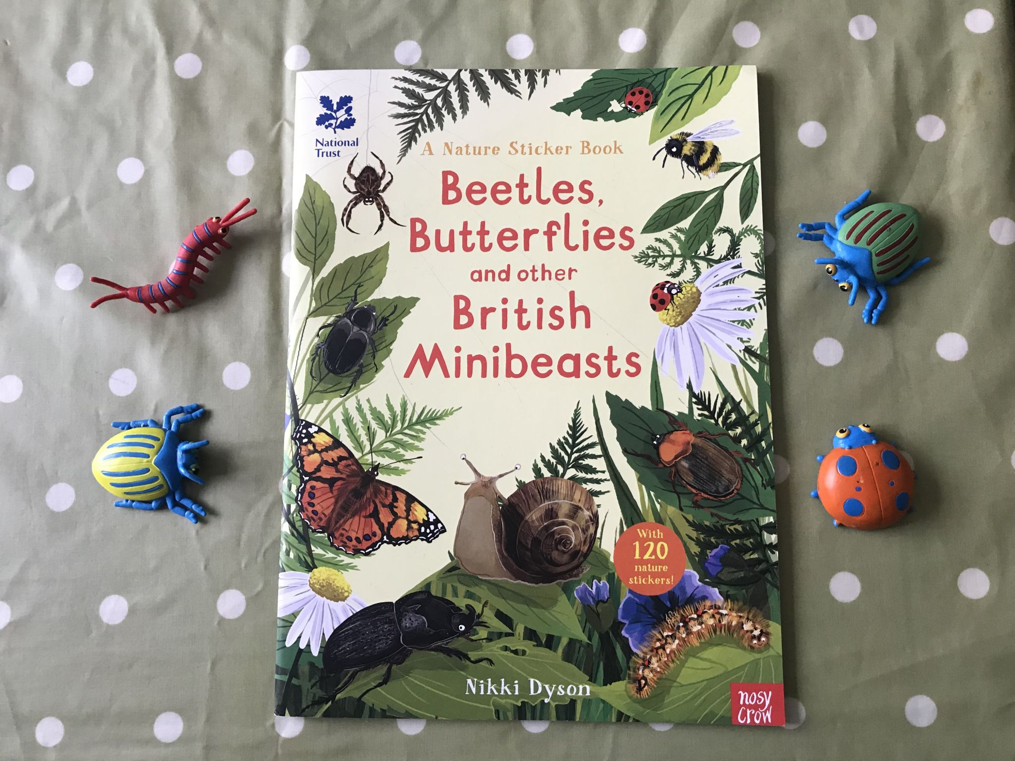 a flatly photo of a bugs and beetles sticker book with some plastic bugs