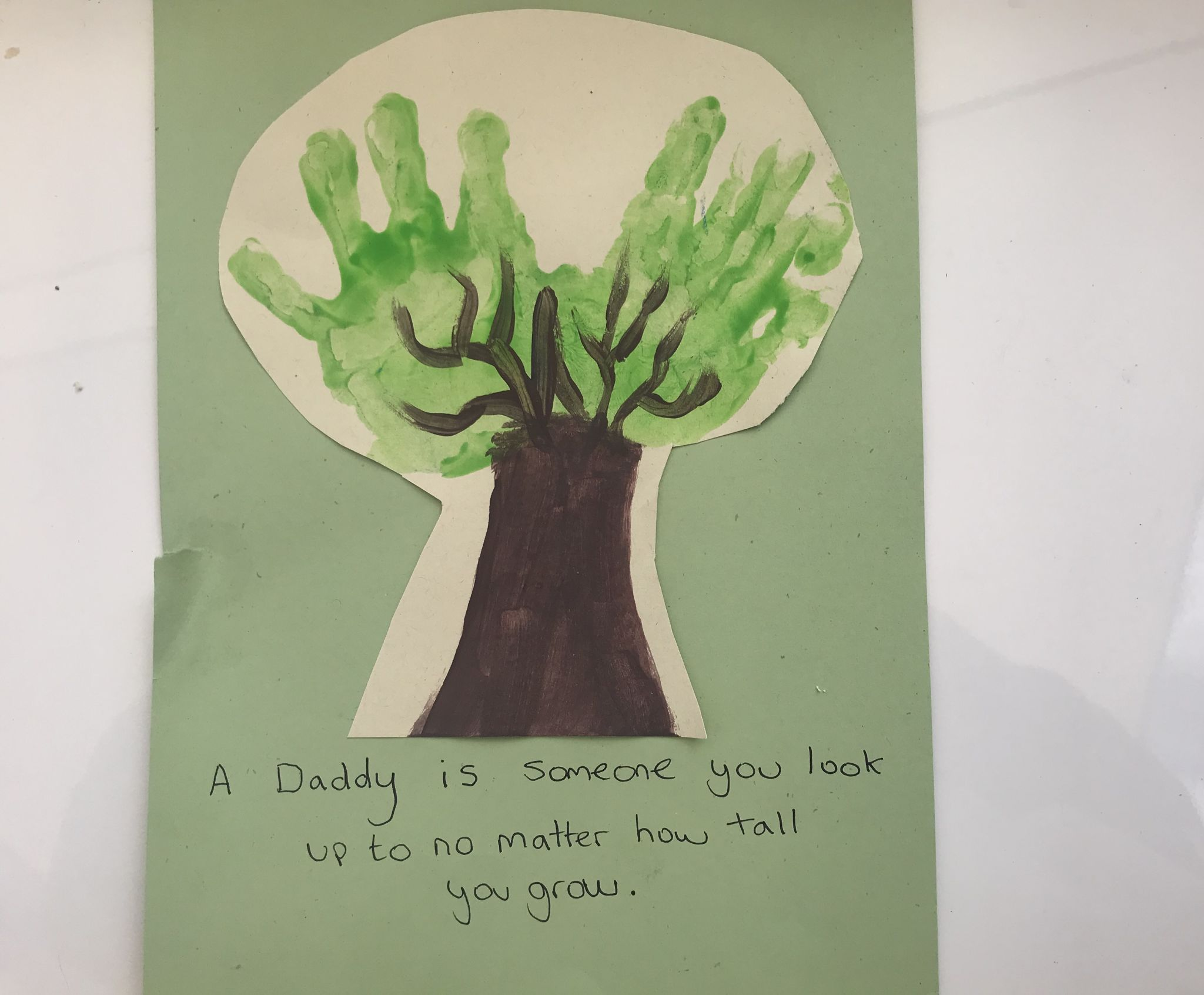 a handprint as a tree for a Father's Day Card