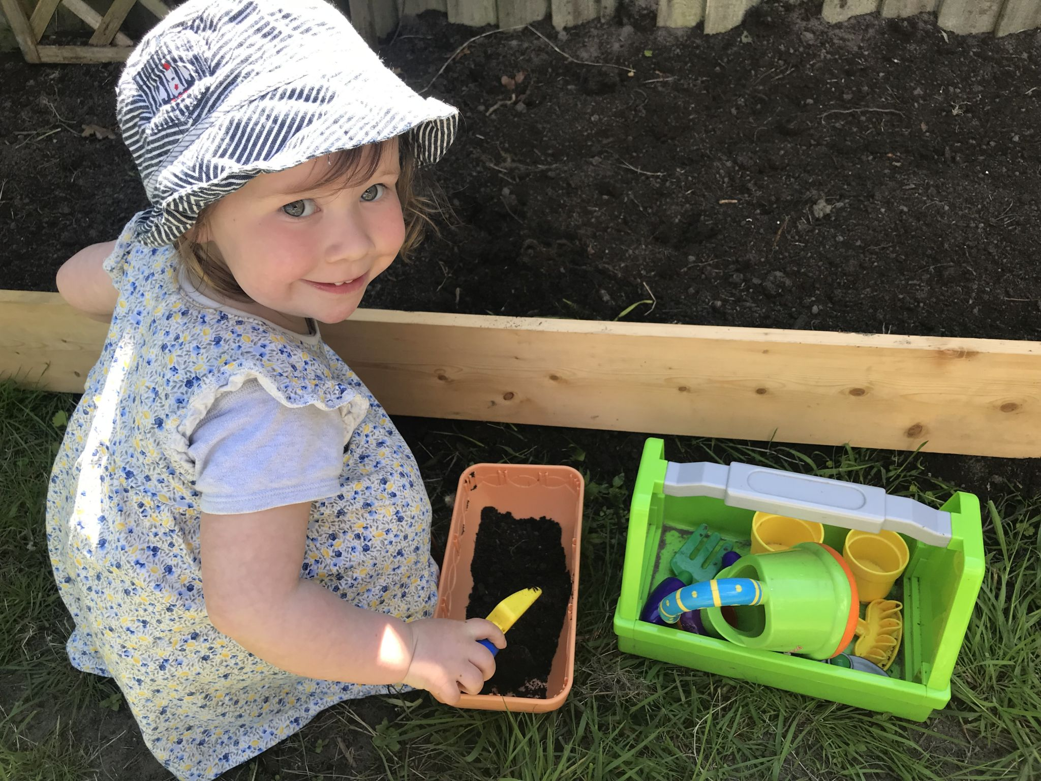 Toddler digging with some gardening tools