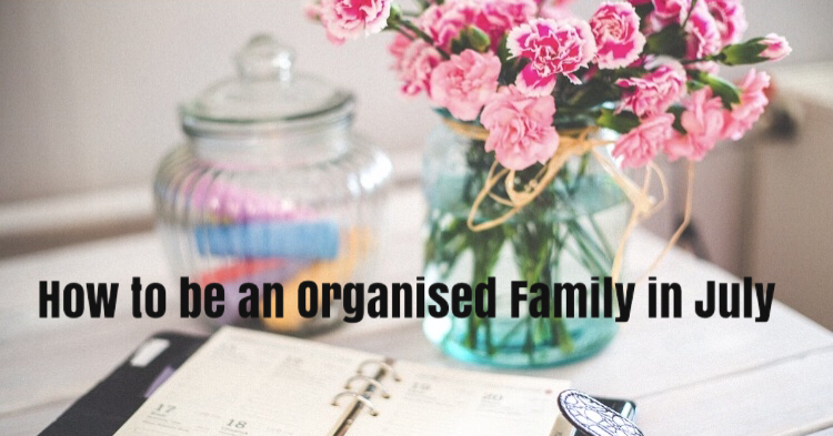 Organised family in July with a diary and flowers