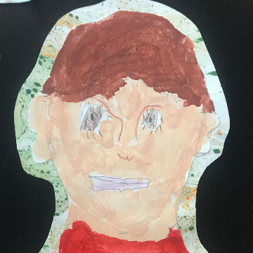 A painted portrait of a child