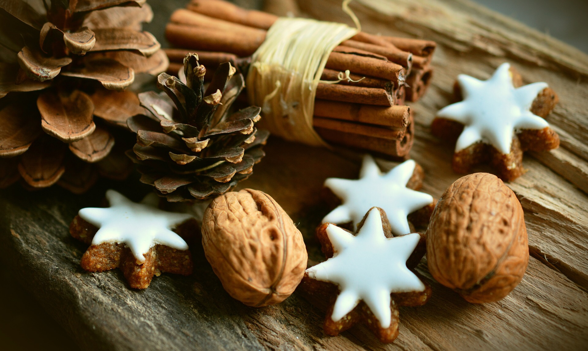 nuts, pinecones and christmas biscuits