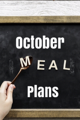 chalkboard with October Meal Plan written on for Pinterest