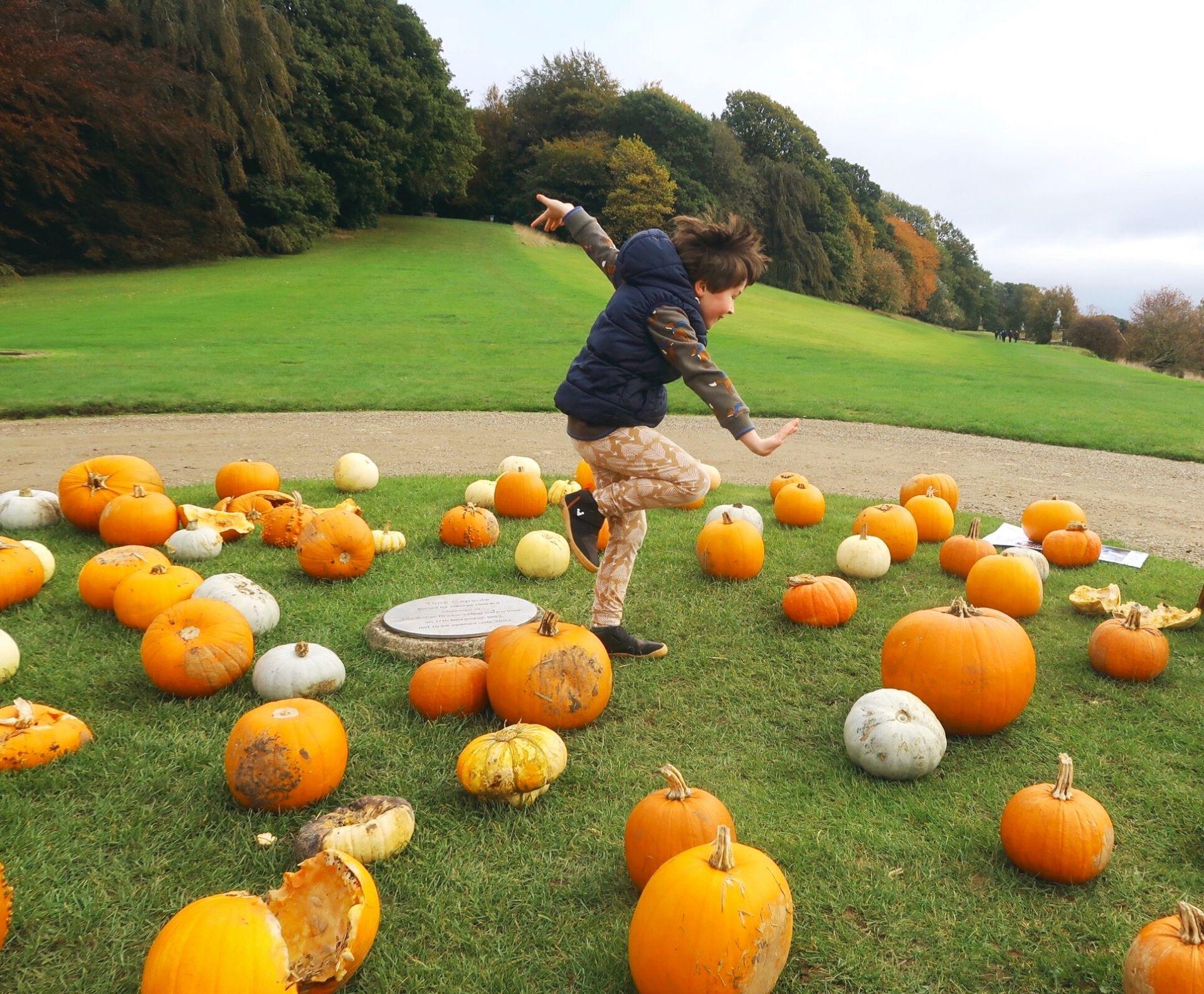 Boy dancing amongst pumpkins in the grass