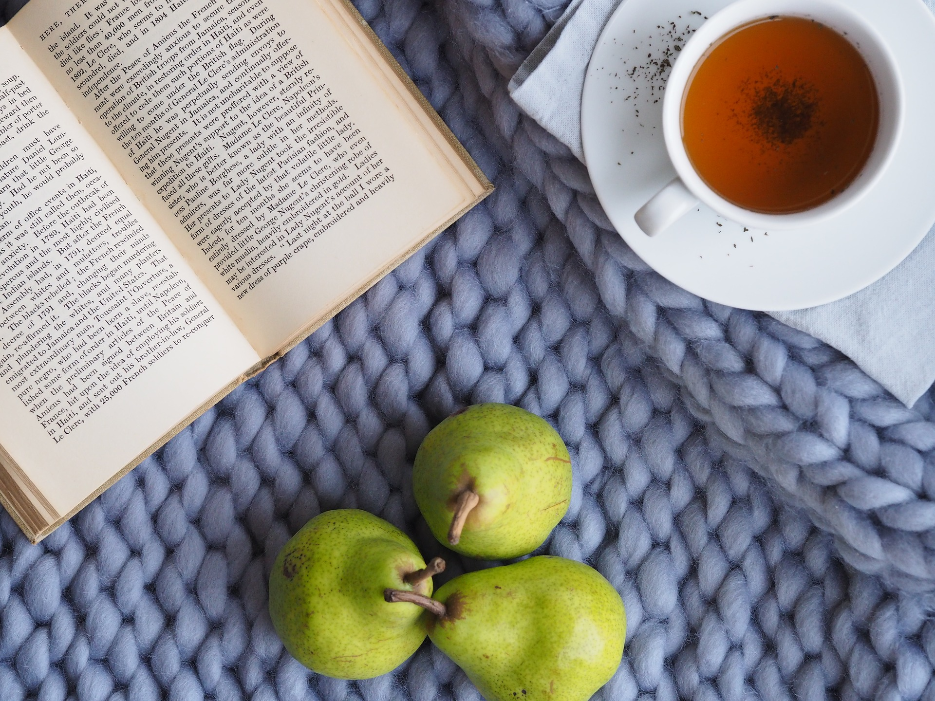 a book, cup of tea and some pears on a blanket