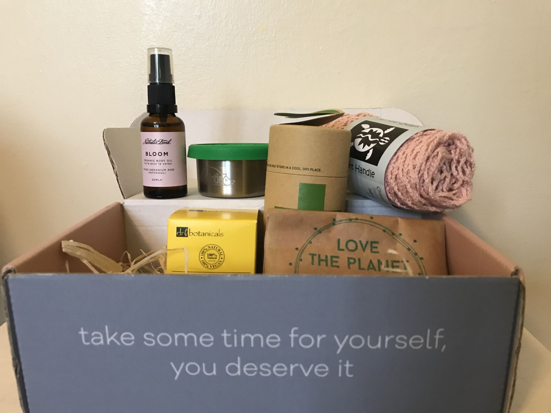 A package of eco friendly Mum products in a box