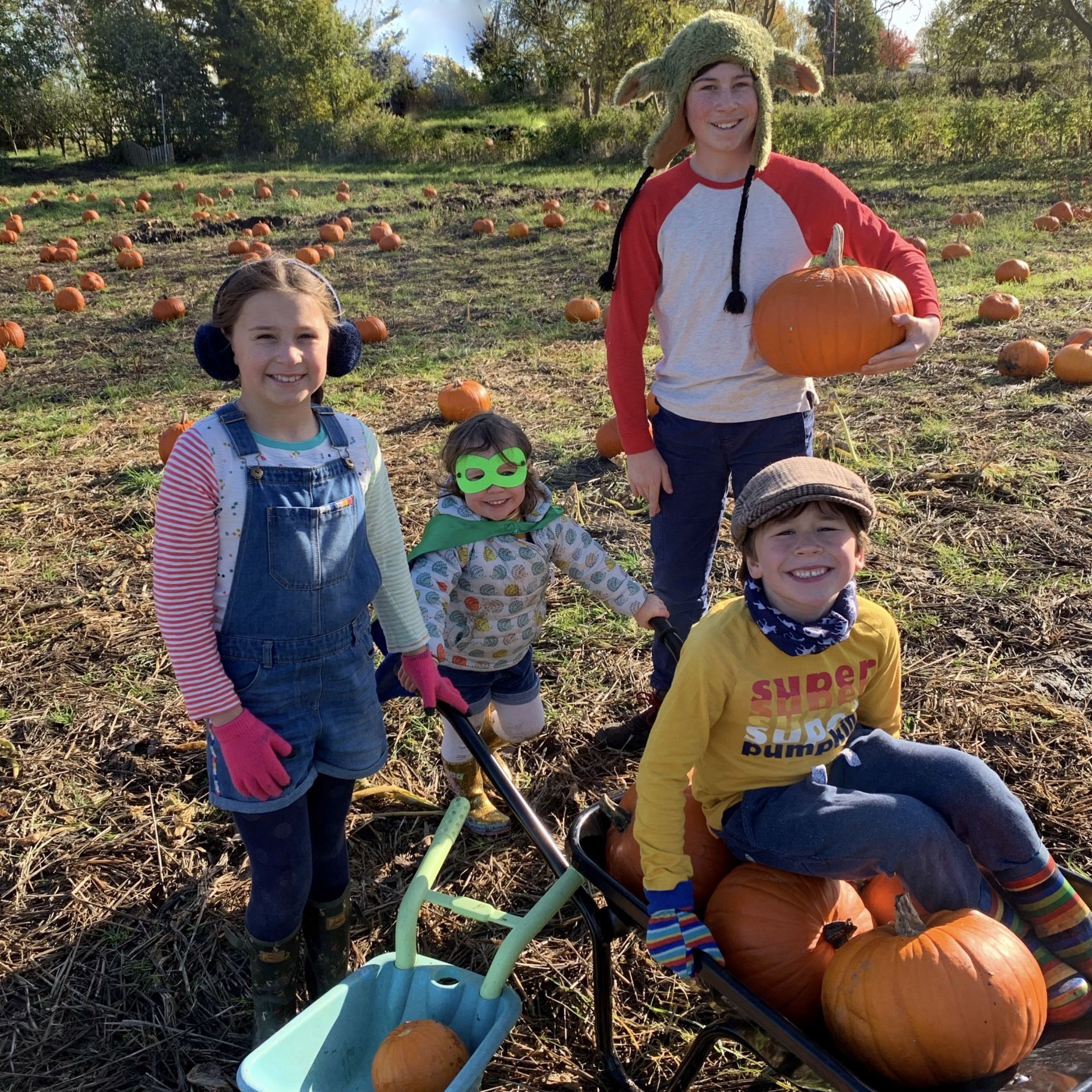 4 children pumpkin picking