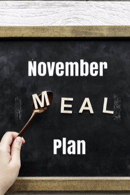 a board saying November Meal Plan