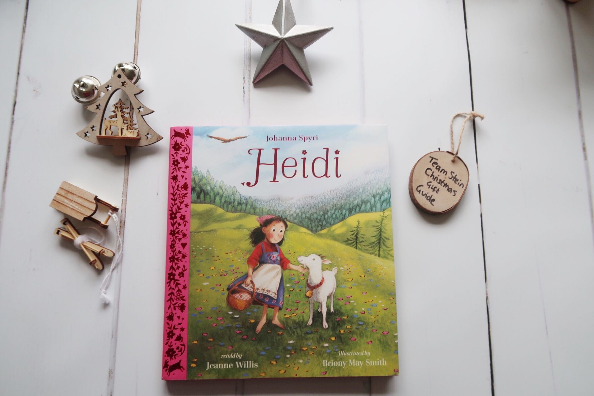 Heidi book with Christmas decorations