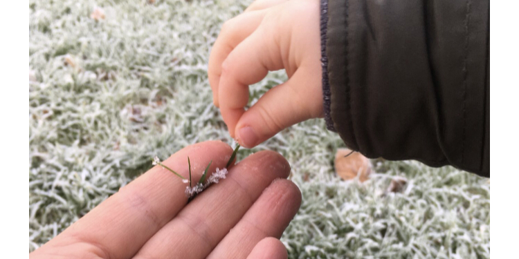 a baby and Mum holding frosty blades of grass for Christmas activities