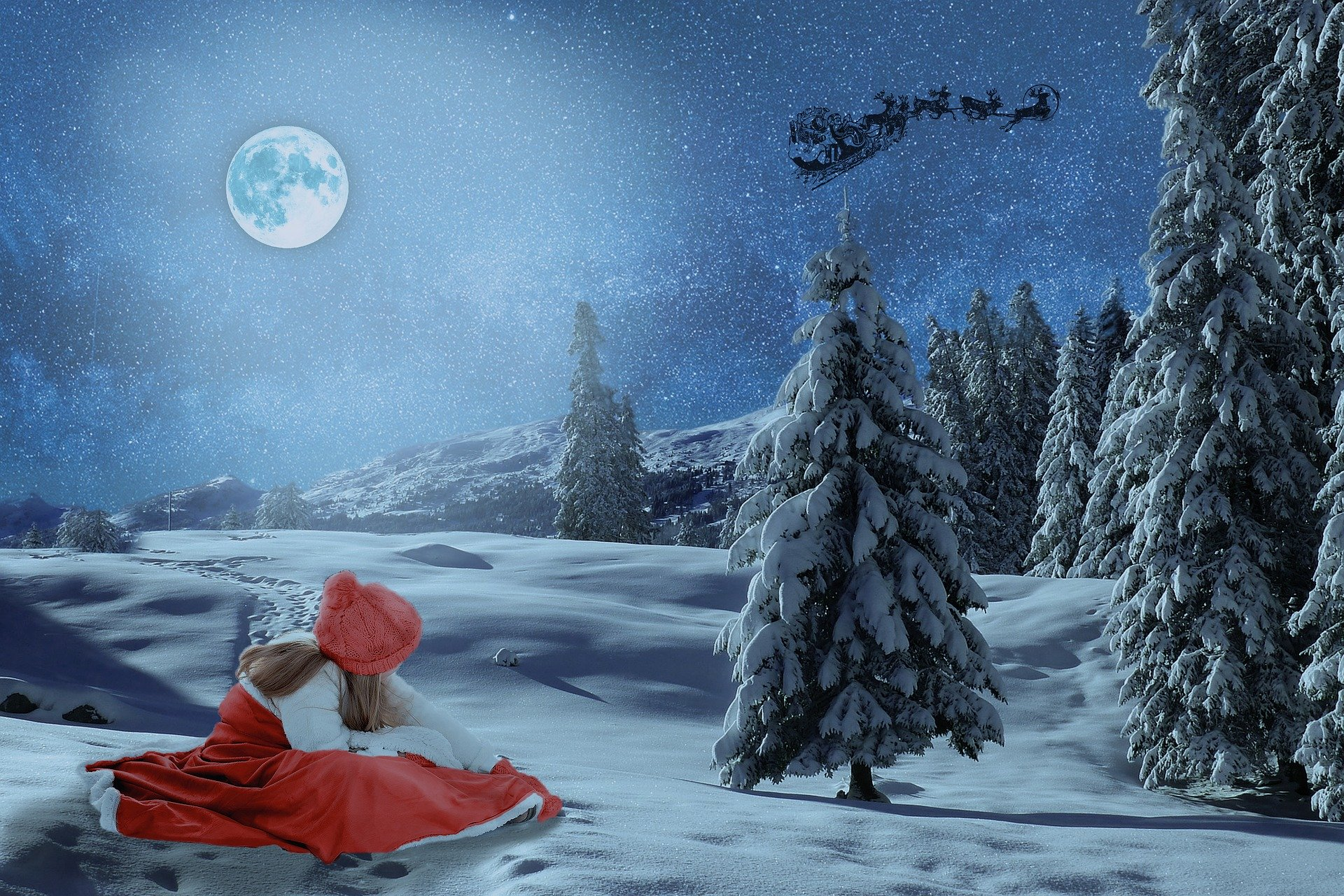 a girl in the snow watching santa in a sleigh in the sky
