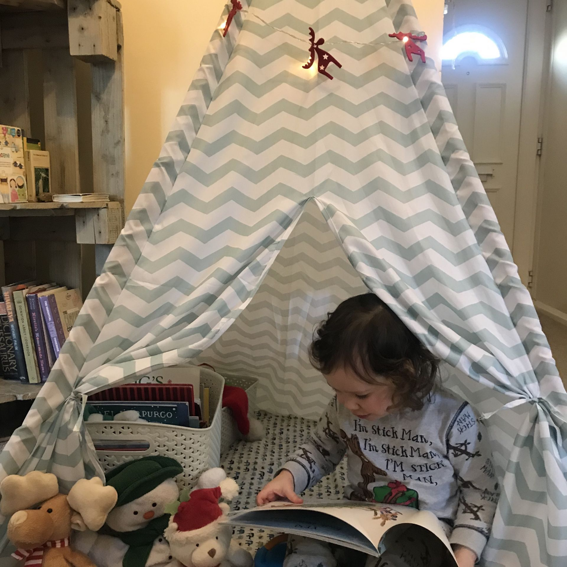 a toddler reading in a teepee