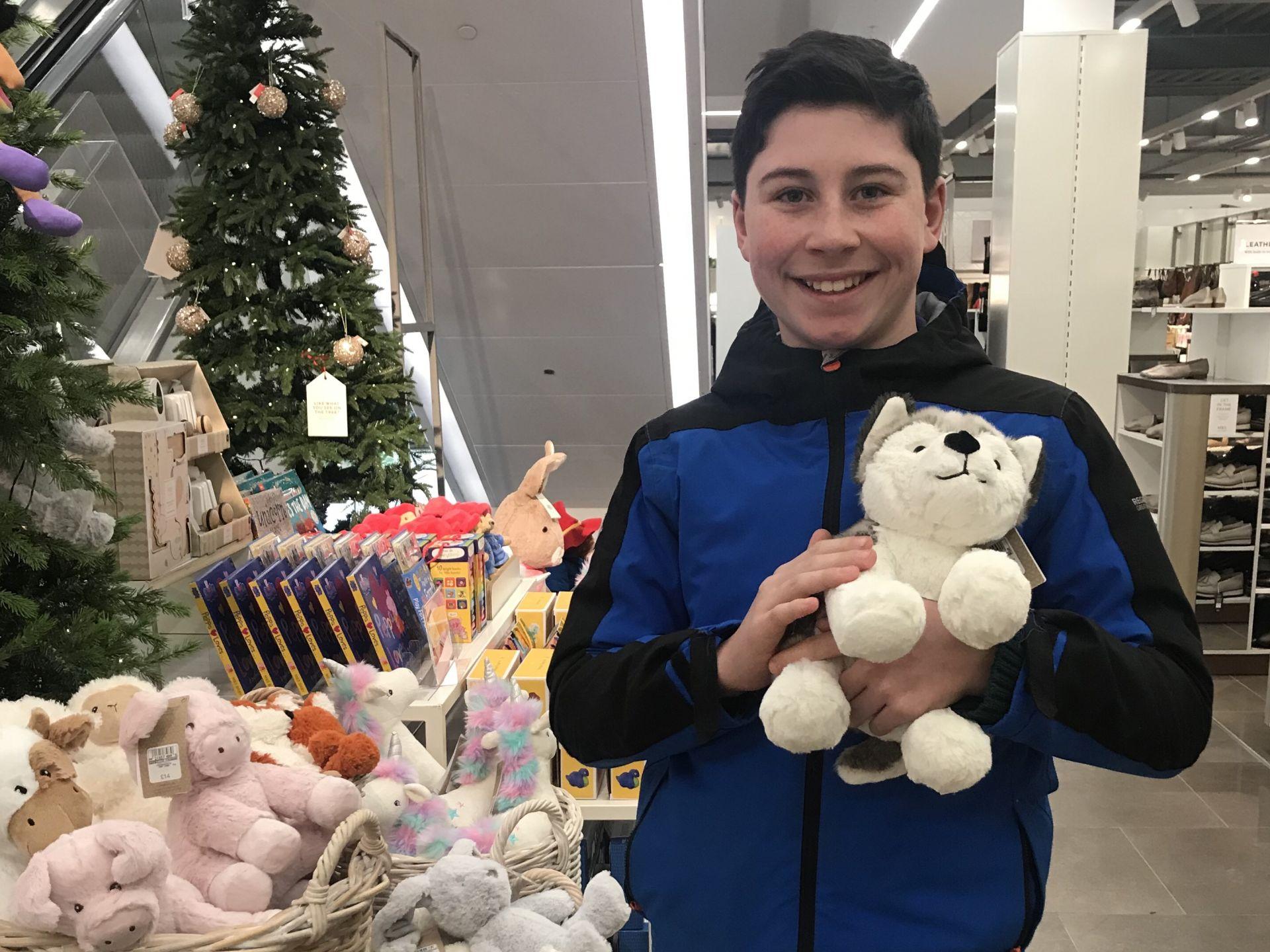 a boy holding a toy husky