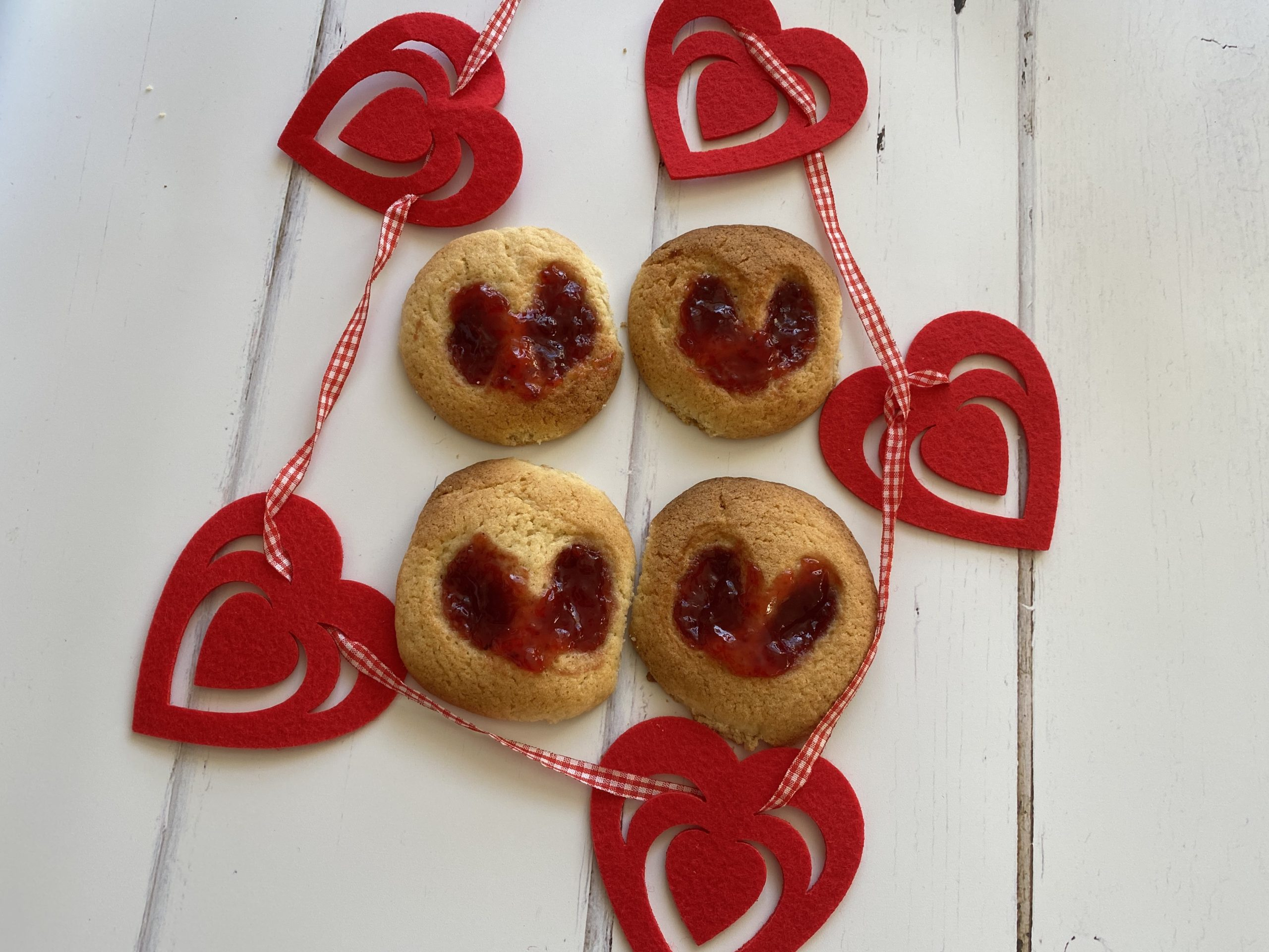 jam thumbprint cookies with hearts