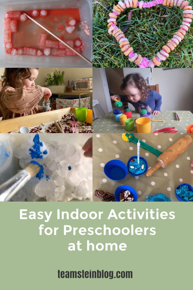 Easy indoor activities for preschoolers at home pinterest pin
