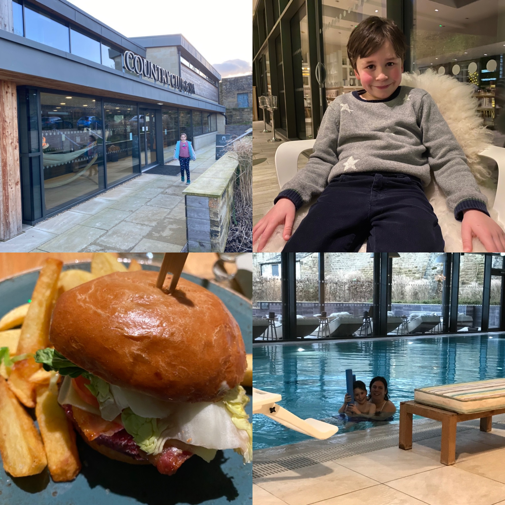 a collage of photos from a hotel including swimming pool, burger meal and a boy in a chair