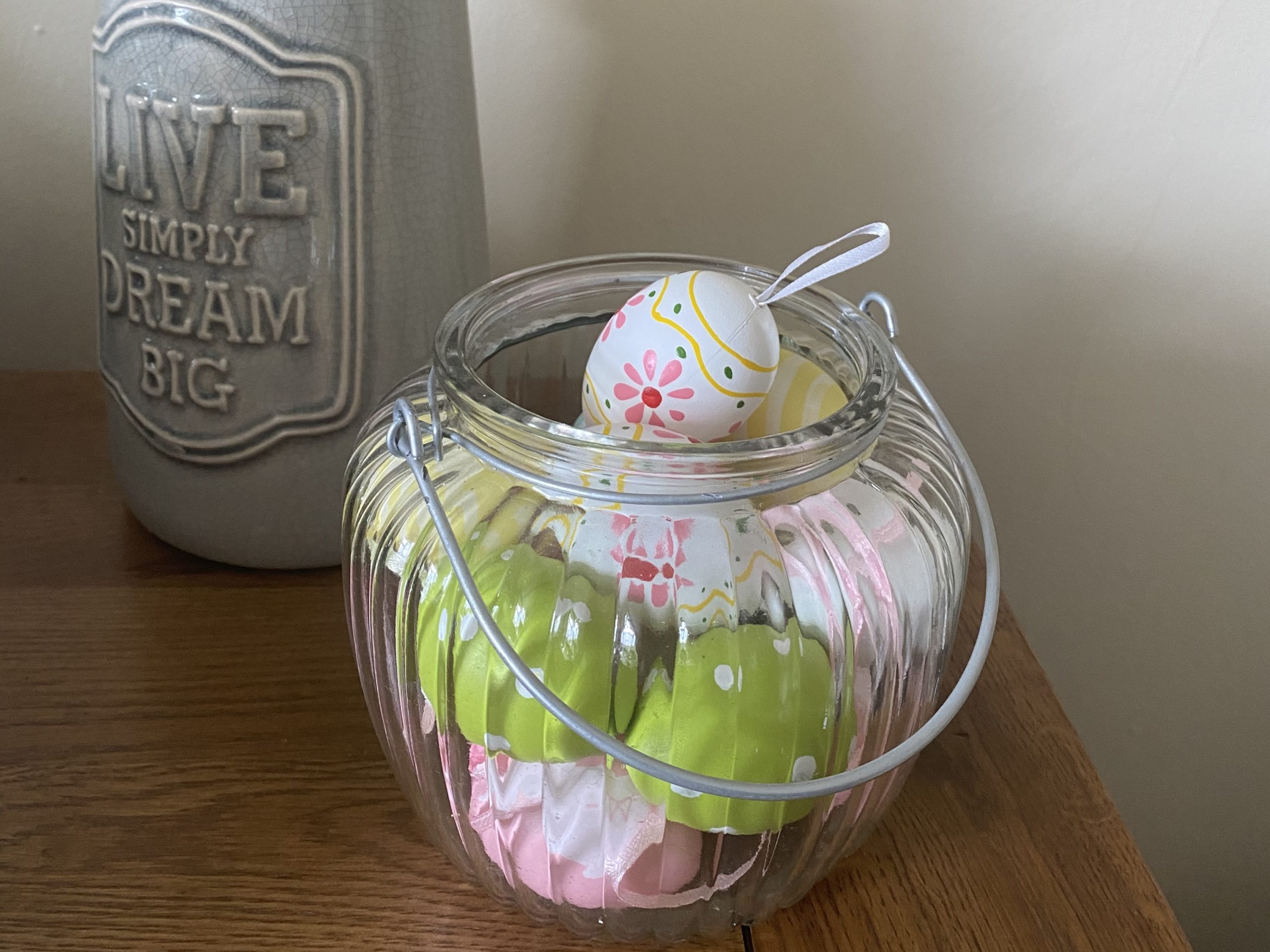 Easter Home decor - a glass bowl filled with eggs