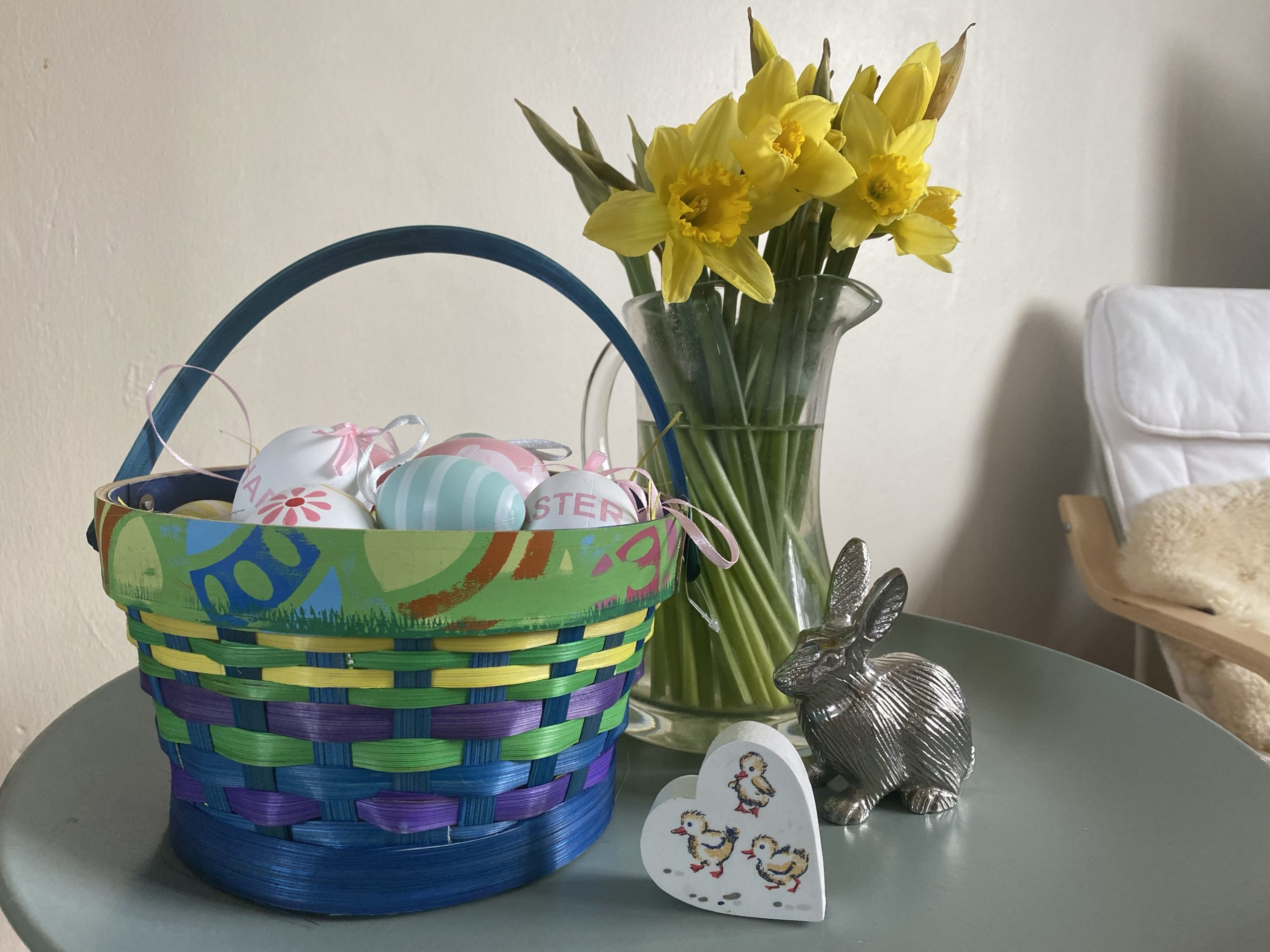 Easter Home decor with a basket of eggs and daffodils