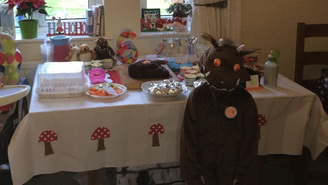 A child dressed as the Gruffalo