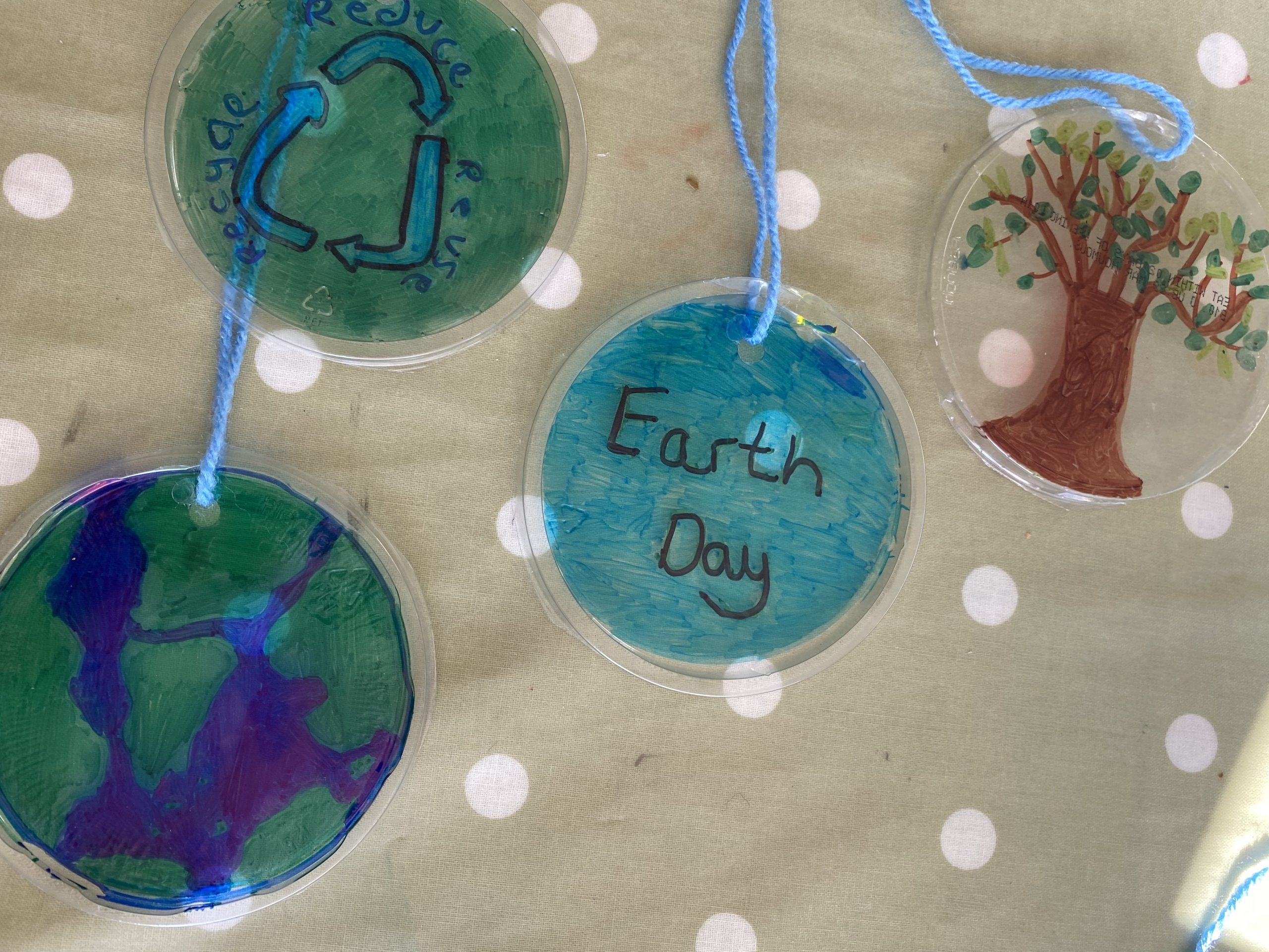 Earth day up cycled recycled decorations form plastics and sharpies