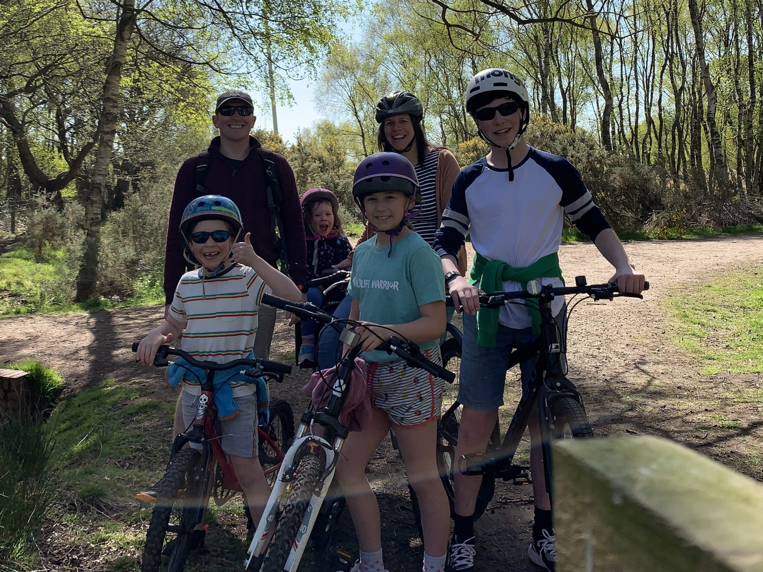 a family out cycling