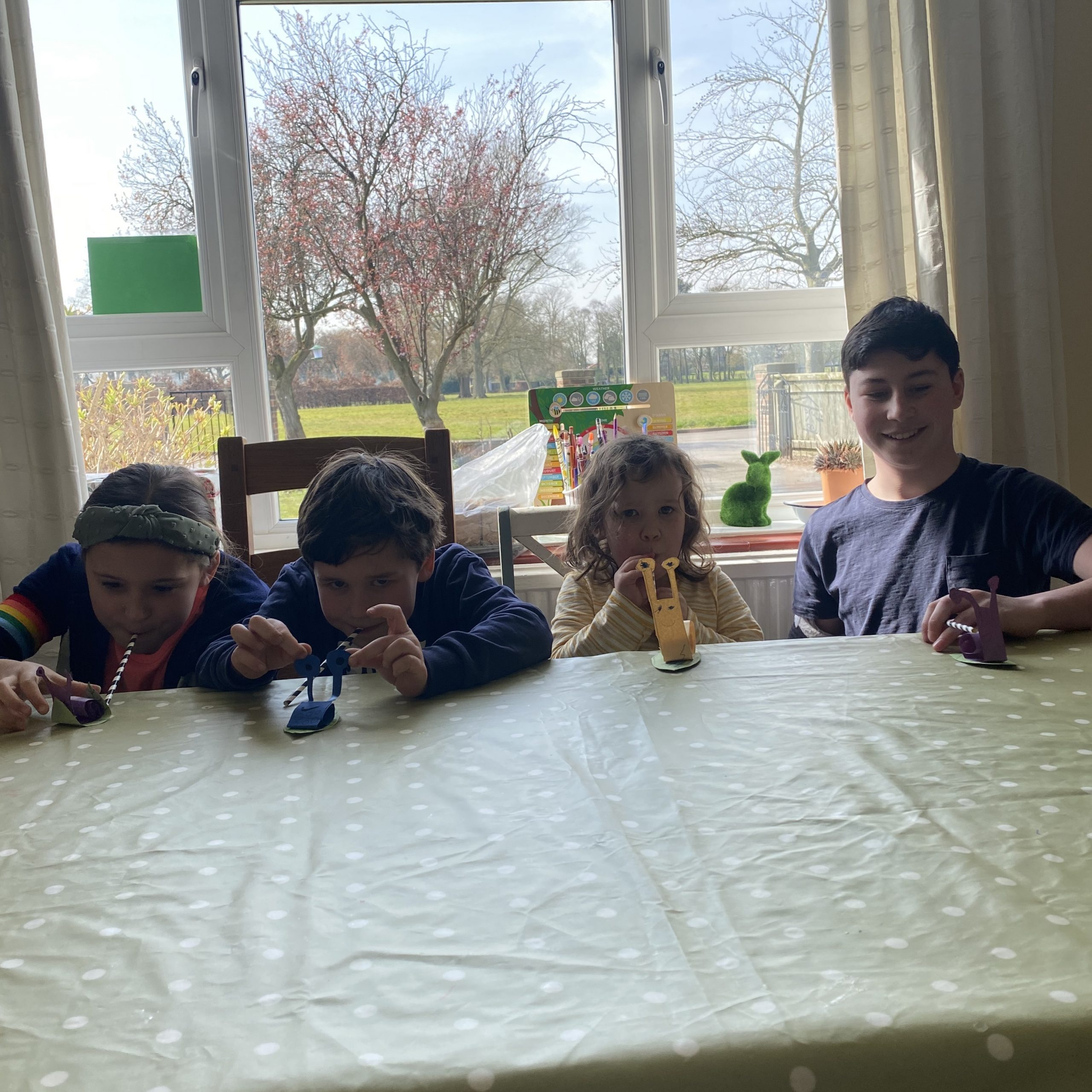 four children playing a snail race on a table during lockdown homeschool