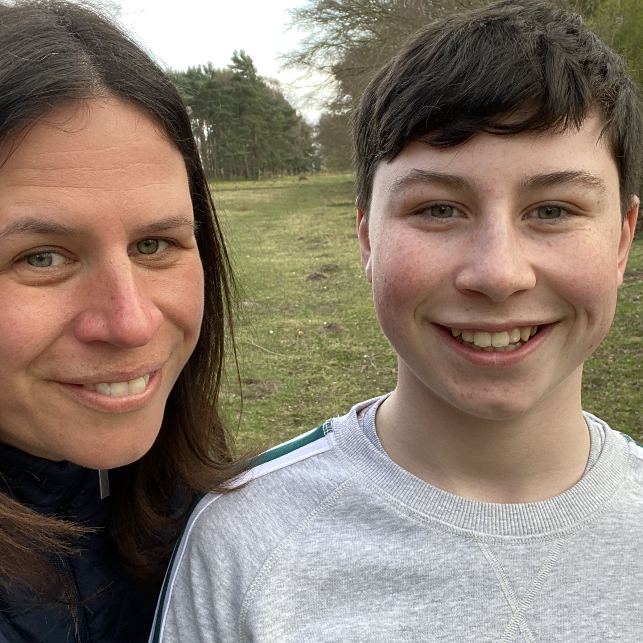 mother and son having a selfie whilst out for their one exercise during lockdown