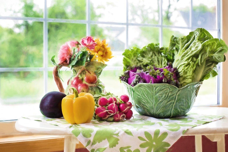 vegetables and salad on a windowsill