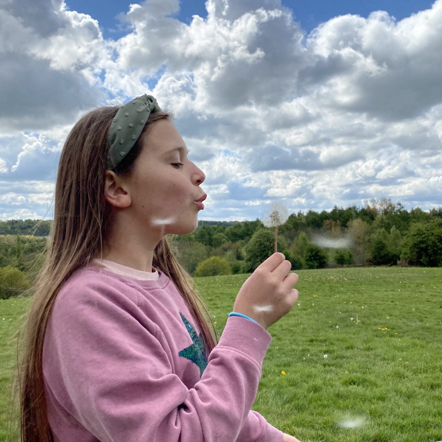Living Arrows  a girl blowing a dandelion to make a wish