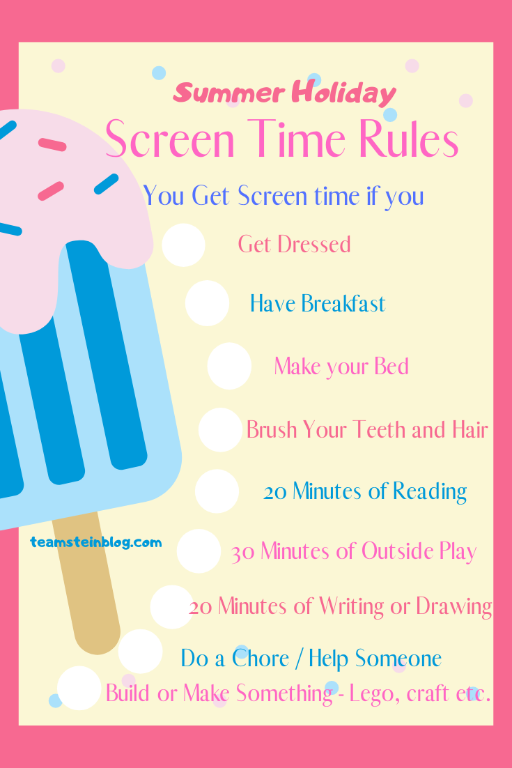 Screen time rules for 100 things to do this summer