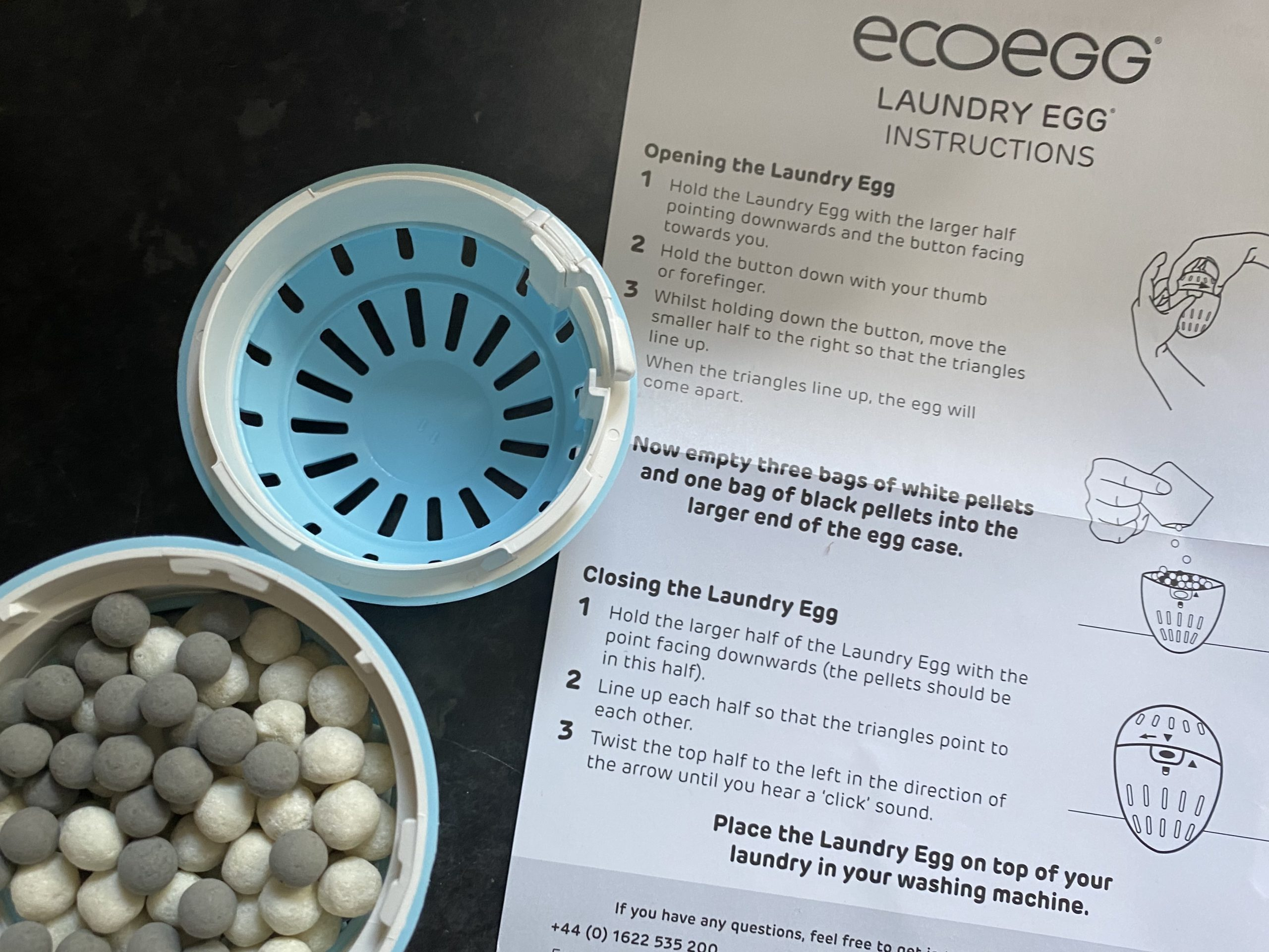 ecoegg review with the egg and the pellets with the instructions