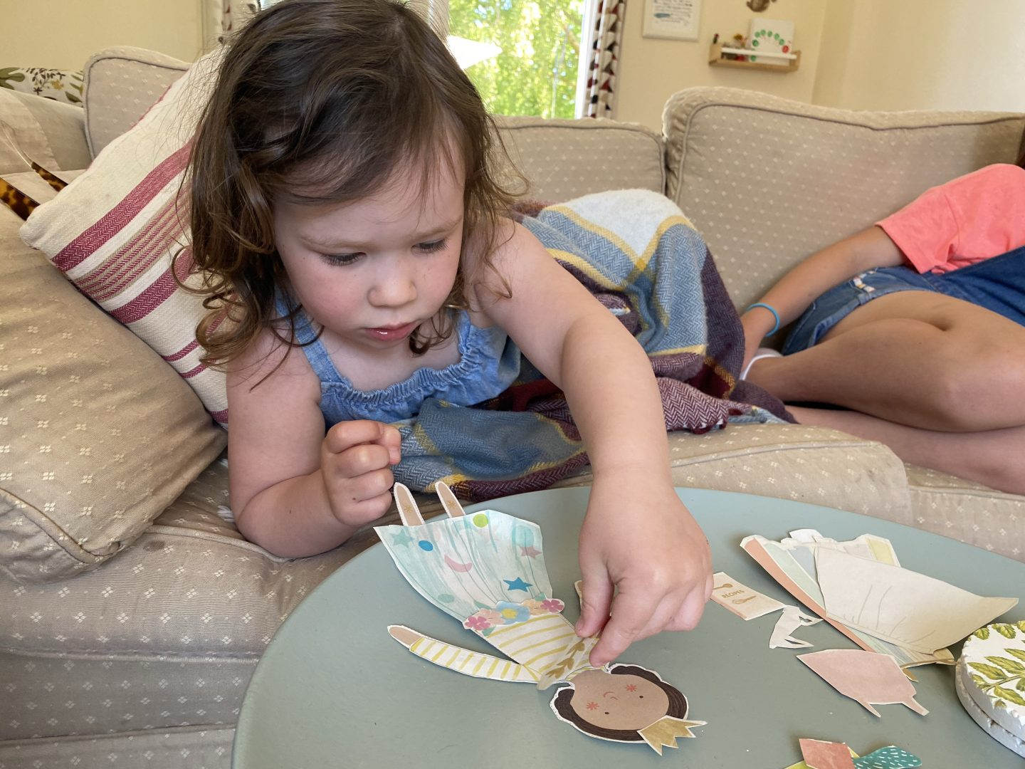 Half term holiday craft with a gork making paper dolls