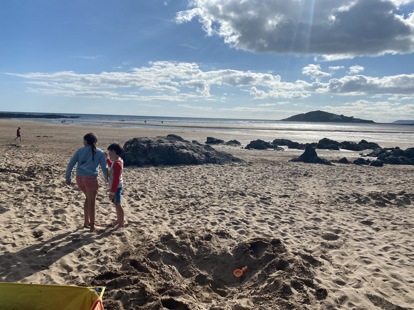Camping in South Hams Devon a picture of 2 kids on Bantham Beach