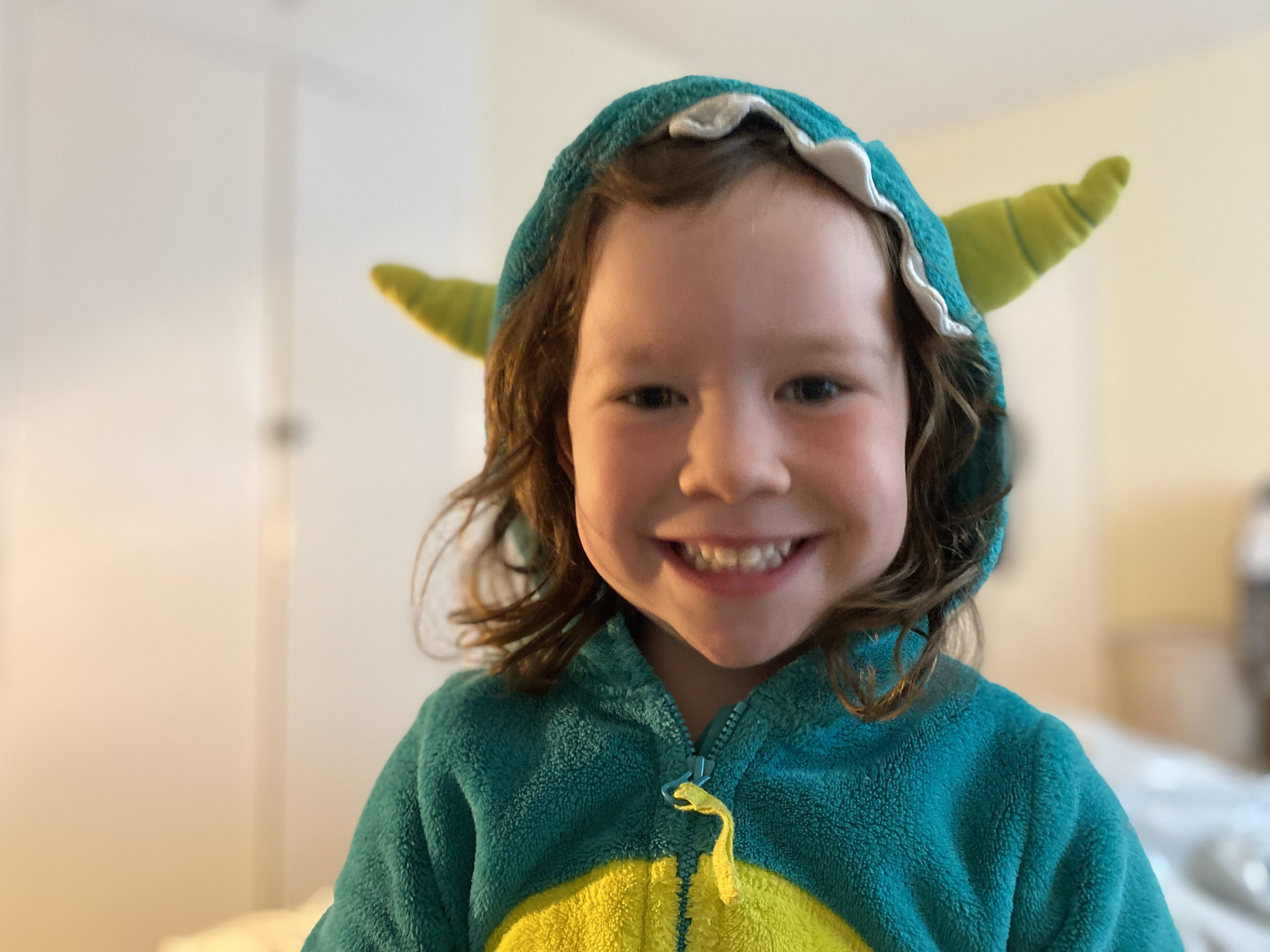 A child dressed as a dinosaur
