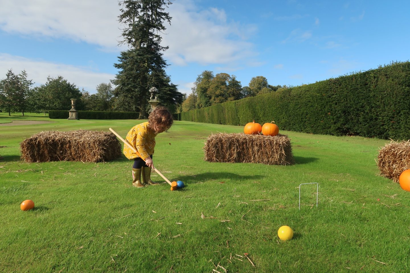 Castle Howard Autumn festival with pumpkin croquet