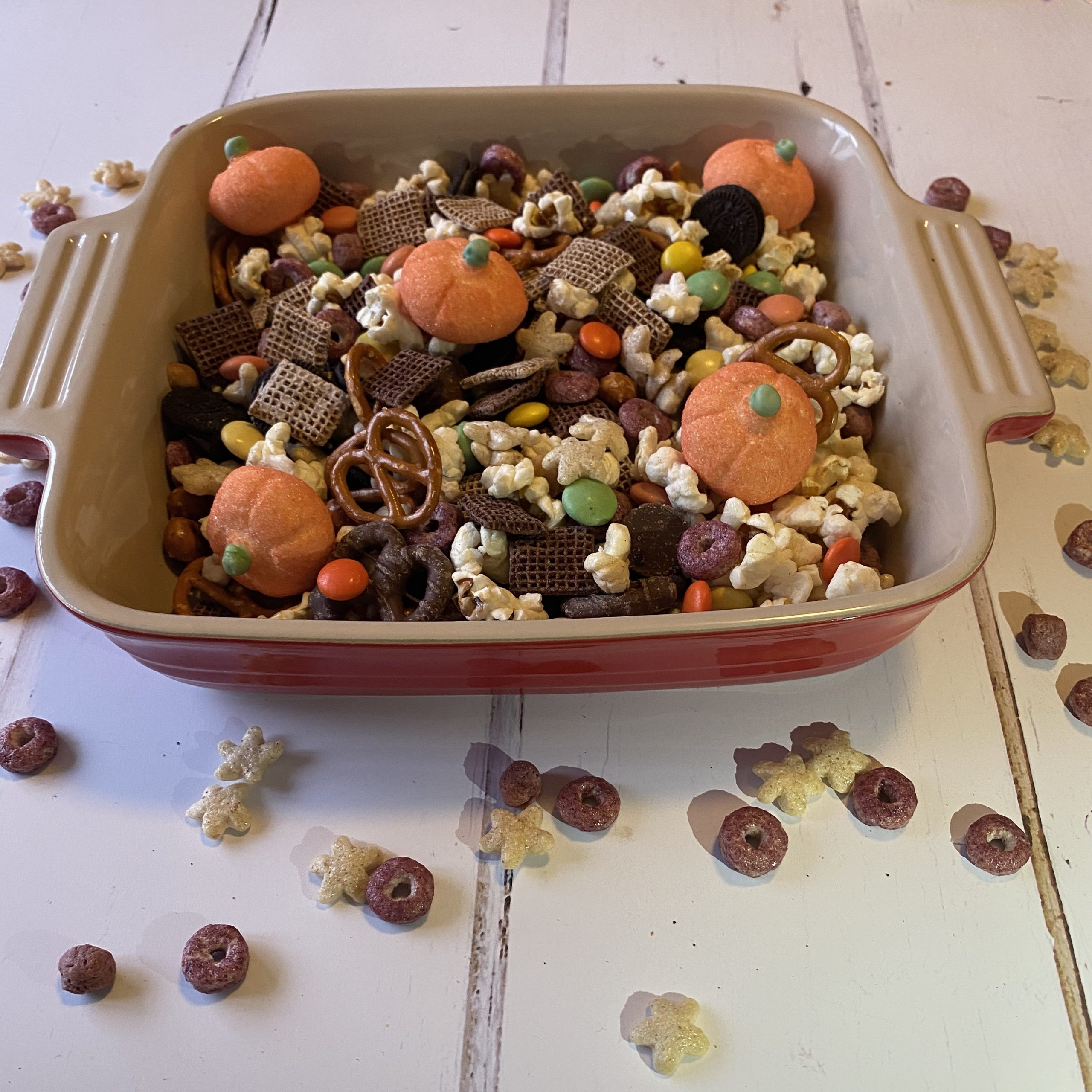 a bowl of simple Halloween snack mix