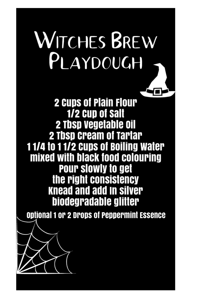 Pinterest pin with witches brew Playdough