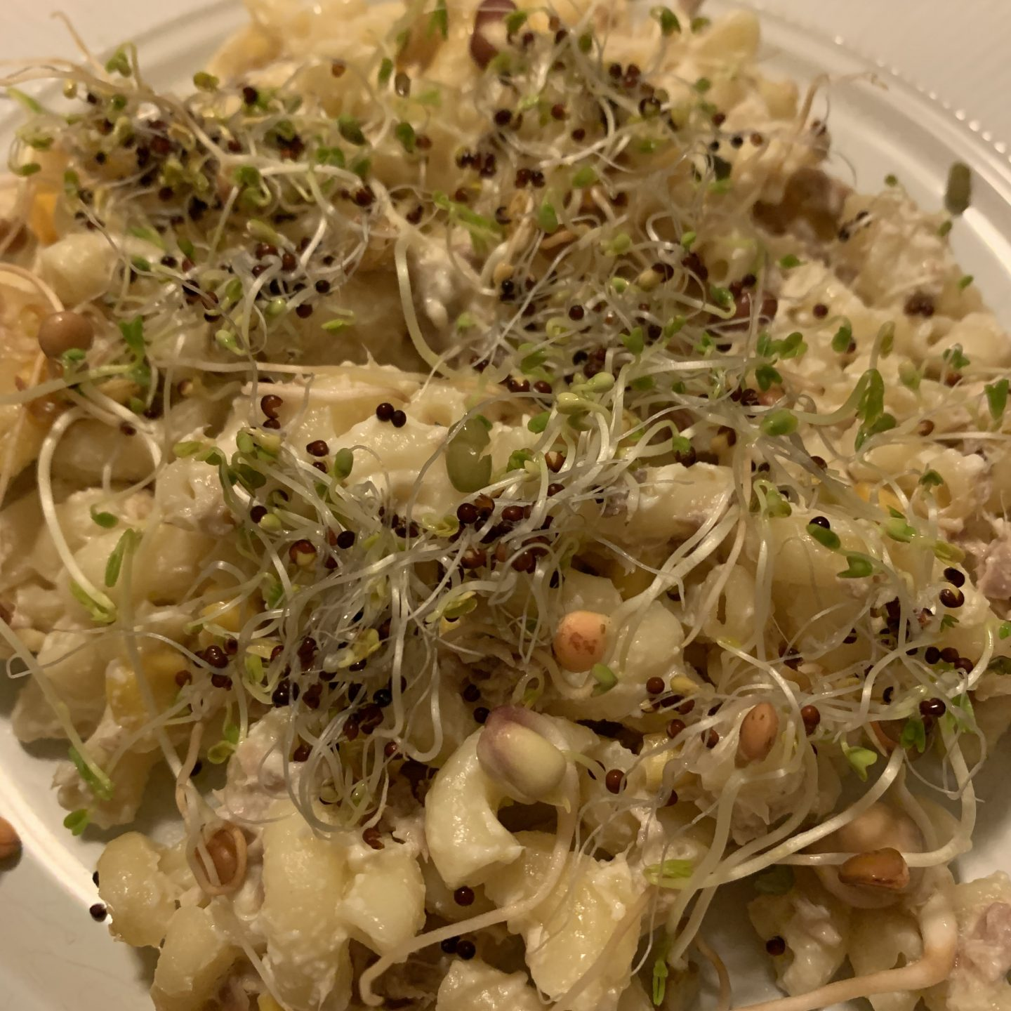 Mac cheese with sprouts on top