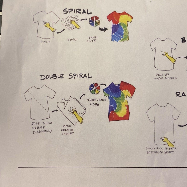 Tie dye technique drawings