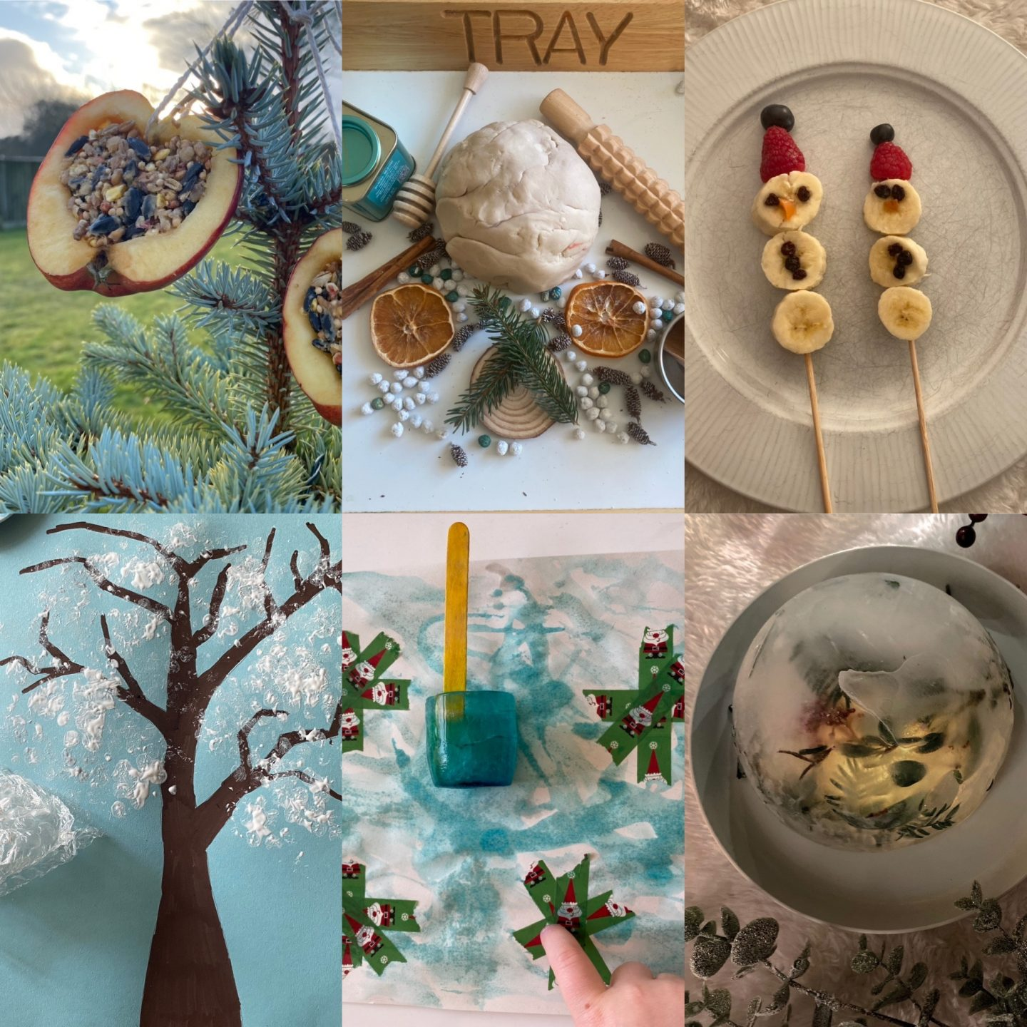 January Activities for kids with a picture of all the activities in this post