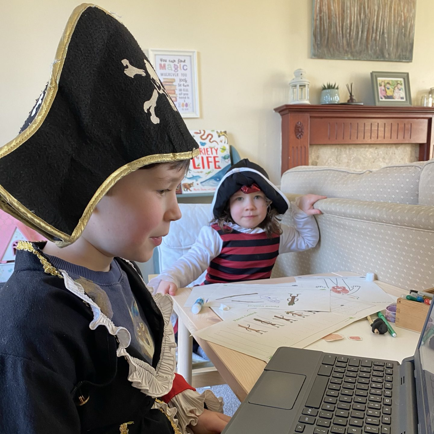 mumschool with two children dressed as pirates telling a story