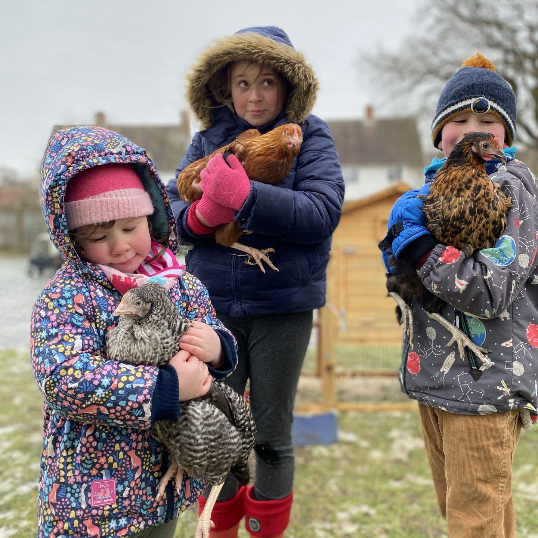 3 children holding chickens